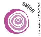 onion drawing hand painted with ... | Shutterstock .eps vector #1795689883