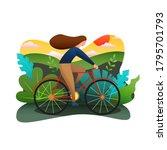 girl riding a bike  flat color... | Shutterstock .eps vector #1795701793