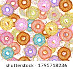 colorful donuts seamless... | Shutterstock . vector #1795718236