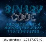 binary code alphabet font.... | Shutterstock .eps vector #1795737340