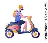 man riding a motorbike....   Shutterstock .eps vector #1795747096