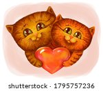 Two Cute Fluffy Red Cartoon...