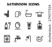 bathroom icons, mono vector symbols