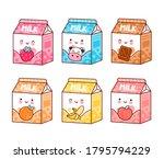 cute happy funny flavored milk...   Shutterstock .eps vector #1795794229