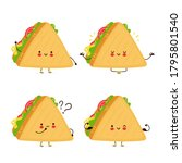 cute happy funny sandwich set... | Shutterstock .eps vector #1795801540