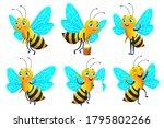cartoon bee character set and...   Shutterstock .eps vector #1795802266