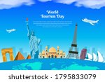 world tourism day design with... | Shutterstock .eps vector #1795833079