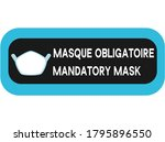 two languages mandatory mask... | Shutterstock .eps vector #1795896550