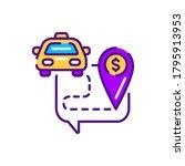 cost taxi color line icon....