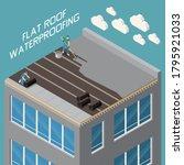 flat roof waterproofing with... | Shutterstock .eps vector #1795921033