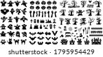 set of halloween silhouette... | Shutterstock .eps vector #1795954429