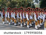Kolkata, West Bengal, India - 26th Januaray 2020 : Indian Army Officers wearing colourful hats are marching past with rifles, at Republic day parade. - stock photo