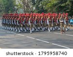 Kolkata, West Bengal, India - 26th Januaray 2020 : Indian Army Officers wearing khaki dress and colourful hats are marching past with rifles, at Republic day parade. - stock photo