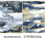 Watercolor ocean abstract texture with gold and blue waves. Hand painted sea or ocean background. Aquatic illustration for design, print or background.