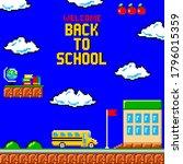 back to school pixel art... | Shutterstock .eps vector #1796015359