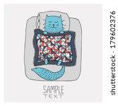 Stock vector hand drawn cat sleeps under patchwork quilt 179602376