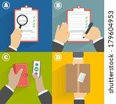 business concept. set of hands...   Shutterstock .eps vector #179604953