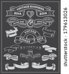 chalkboard scrolls and banners. ... | Shutterstock .eps vector #179613026