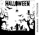 happy halloween text banner ...   Shutterstock .eps vector #1796131636