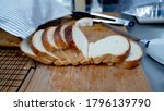 pieces of slices breads on wood ...   Shutterstock . vector #1796139790