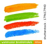 set of colorful watercolor...   Shutterstock .eps vector #179617940