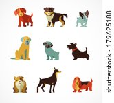 Dogs Vector Set Of Icons And...