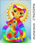 illustration in stained glass... | Shutterstock .eps vector #1796253946