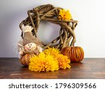 Fall Themed Wooden Wreath With...