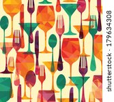 pattern background. fork  knife ... | Shutterstock .eps vector #179634308
