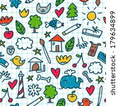 seamless pattern with cute... | Shutterstock .eps vector #179634899