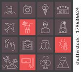 thin line icons set  summer... | Shutterstock .eps vector #179636624