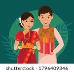 happy indian couple in... | Shutterstock .eps vector #1796409346