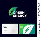 green energy logo. green leaf...