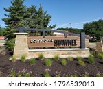 Small photo of Shawnee, Kansas / USA - August 4 2020: Sign for DOWNTOWN SHAWNEE in Johnson County