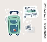 cute suitcase for travel abroad ... | Shutterstock .eps vector #1796599060