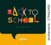 flat back to school sign ... | Shutterstock .eps vector #179662400