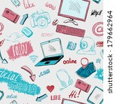 seamless doodle blog social... | Shutterstock .eps vector #179662964