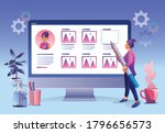 a businesswoman with a pencil.... | Shutterstock .eps vector #1796656573
