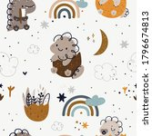 seamless childish pattern with... | Shutterstock .eps vector #1796674813
