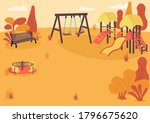 autumn playpark flat color... | Shutterstock .eps vector #1796675620