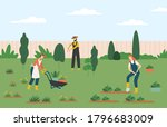 people gardening  woman and man ... | Shutterstock .eps vector #1796683009