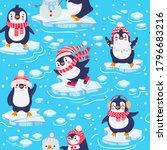 penguins seamless pattern. cute ... | Shutterstock .eps vector #1796683216