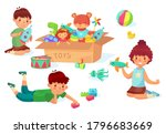 children playing with toys. boy ... | Shutterstock .eps vector #1796683669