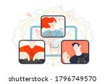 business topics   distant work. ...   Shutterstock .eps vector #1796749570