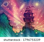 fantasy landscape with a ship... | Shutterstock .eps vector #1796753239