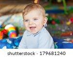 portrait of cute baby boy of 6... | Shutterstock . vector #179681240