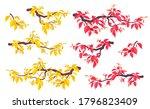 set of simple autumn tree...   Shutterstock .eps vector #1796823409