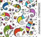 chameleons family  seamless... | Shutterstock .eps vector #1796858020