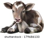 newborn calf  black and white... | Shutterstock .eps vector #179686133