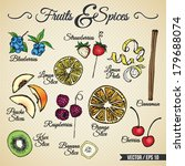 fruits and spices drawings set...   Shutterstock .eps vector #179688074